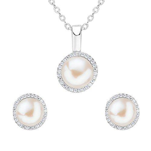 Clearine Damen 925 Sterling Silber Delicate Elegant CZ Cream Rund Süßwasser-Zuchtperle Anhänger Halskette Pierced Ohrringe Schmuck Set (Zuchtperlen-schmuck-sets)