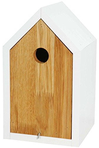 Luxus-Vogelhaus 46761e Designer Nistkasten für Vögel, aus Holz (Eiche, Massivholz), für Garten, Balkon, mit Spitzdach, Farbe: Weiß - Nisthilfe Vogelhaus