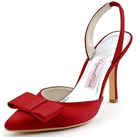 Elegantpark HC1404 Women Pointy Toe Sandals High Heels Slingback Bow Satin Wedding Party Court Shoes Burgundy UK
