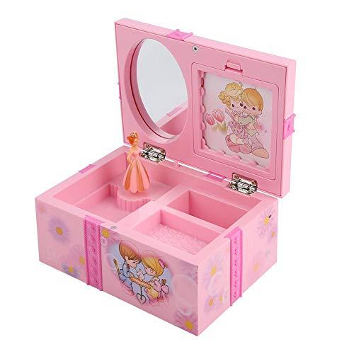 uhr Spielzeug Mädchen Cartoon Rosa Schmuck Spiegel Lagerung Kunststoffkoffer mit Rotary Tanzen ()