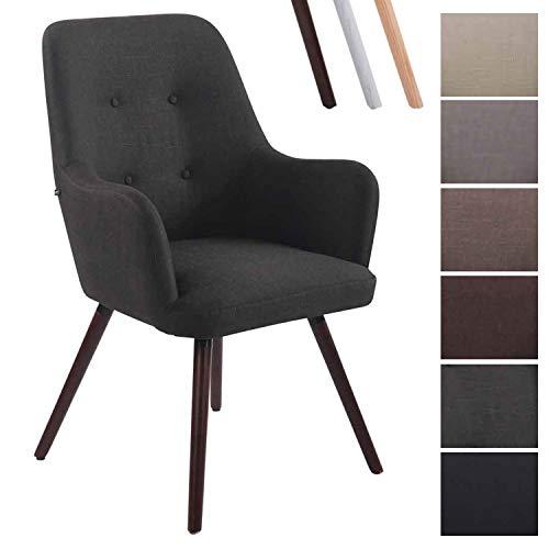 Clp poltrona lounge chair aarhus in tessuto – poltrona tv soggiorno deco con braccioli e alto schienale, telaio in legno di faggio grigio scuro noce