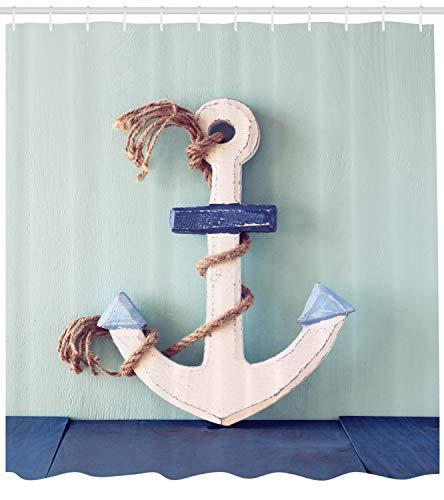 ABAKUHAUS Anker Duschvorhang, Anker und Seil-Motiv, mit 12 Ringe Set Wasserdicht Stielvoll Modern Farbfest und Schimmel Resistent, 175x200 cm, Blau Hellblau und Hellbraun (Blau Duschvorhang Set)