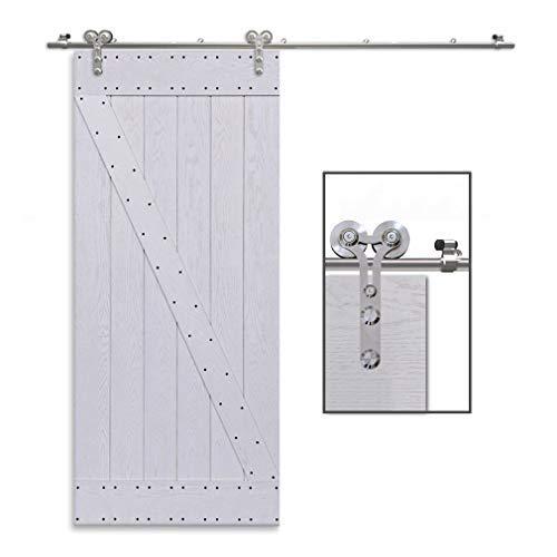 CCJH 5.5FT-168cm Edelstahl Gleitschiene Y geformte Roller Coat Rail Schiebe Einzel Holz / Glas Barn Door Hardware Cabinet Kit -