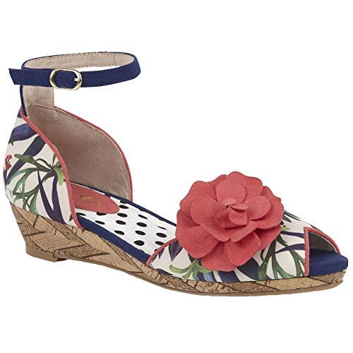 Ruby Shoo Damen Schuhe Phyllis Tropische Riemchen Wedges Mehrfarbig Peep-Toe 39 Floral Peep Toe Wedges