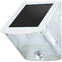 Brennenstuhl Solar 1170870 - Lámpara de pared (con sensor de movimiento, 2 bombillas LED x 0,5 W, IP44, 85 lm), color gris y blanco
