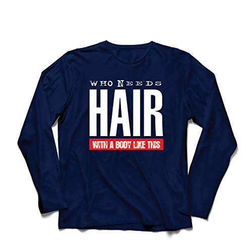 lepni.me Herren T Shirts Wer braucht Haare mit einem Körper wie diesem Lustiges Geschenk für Glatze (XX-Large Blau (Beste Original Paare Kostüme)