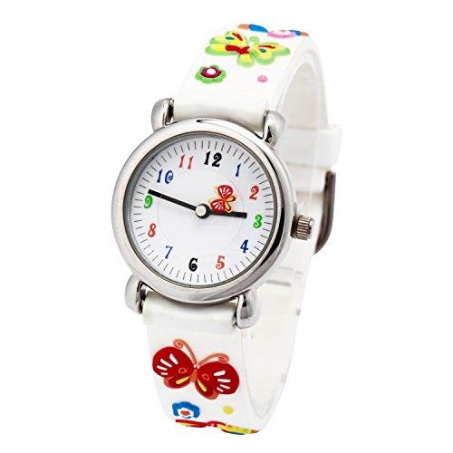 Kinderuhr Vinmori, Wasserdichte Quarzuhr mit süßer 3D-Karikatur, Geschenk für Kinder,Jungen und Mädchen Weißer Schmetterling