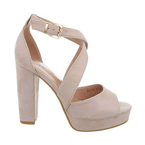 Damen Riemchen Abend Sandaletten High Heels Pumps Slingbacks Velours Peep Toes Party Schuhe Bequem B67 (37, Beige) -