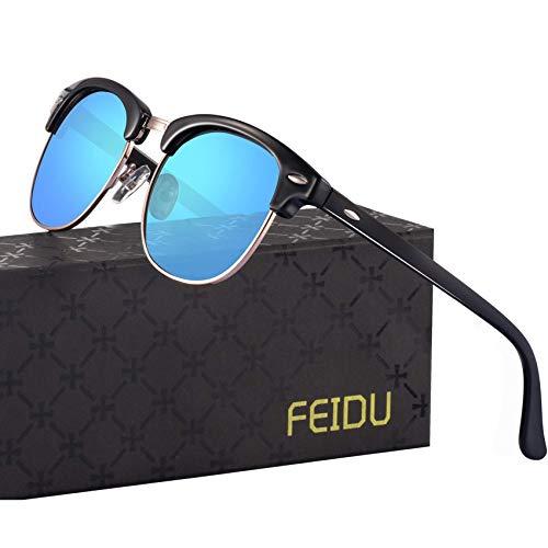 FEIDU Halbrahmen Polarisierte Klassische Metall Sonnenbrillen Herren-Retro Polarisierte Sonnenbrille Damen FD 3031 (Blau, 2.04)