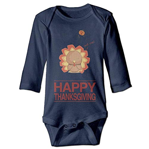 MSGDF Unisex Infant Bodysuits Happy Thanksgiving Boys Babysuit Long Sleeve Jumpsuit Sunsuit Outfit Navy (Boy Thanksgiving-outfit Toddler)