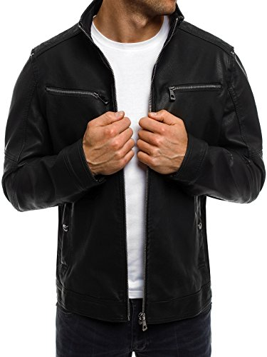OZONEE Herren Übergangsjacke Jacke Bikerjacke Kunstlederjacke Sweats Sweatjacke Faux Leder Frühlingsjacke NATURE 4308 Schwarz_NATURE-4308