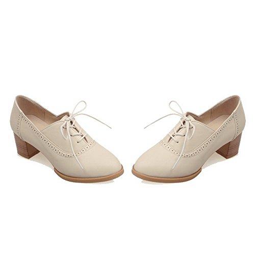 VogueZone009 Femme Lacet Rond à Talon Correct Pu Cuir Couleur Unie Chaussures Légeres Beige