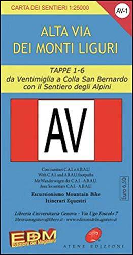 AV-1 Alta via dei monti liguri. Carte dei sentieri di Liguria