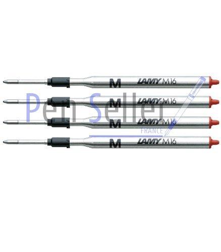 Lamy: Großraum-Kugelschreibermine M16: Farbe: rot, Strichbreite: M, 4er-Set.