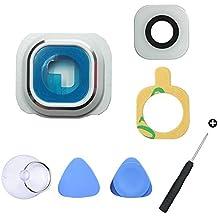 Cemobile Recambio Para Cubre Lente y Bisel de la Cámara Trasera Con Adhesivo + Kit de herramientas de reparación Para Samsung Galaxy S6 G920A G920F G920F G920 G920 G920S G920T G9200 G9208 (todos los modelos) Blanco