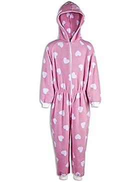 Pijama infantil de una pieza - Estampado de corazones blancos - Rosa