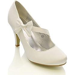Zapatos de raso para Boda con Tacón de Aguja Blanco o Marfil