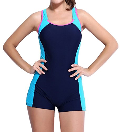 CharmLeaks Womens One Piece Swimsuit Boyleg Swimwear Sports Swimming Costume Blue