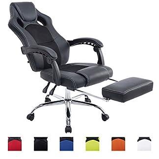 CLP Sillón de oficina con asiento deportivo Energy, reposacabezas, reposapiés integrado, altura 47–57cm