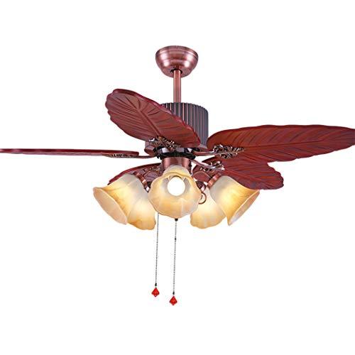 Tropical-outdoor-deckenventilator (LeiLight moderner DeckenventilatorHolz Deckenventilator Licht 5 Klingen 5 Lichter Fan Licht Lampe Tropical Große Ruhige Deckenventilator Kronleuchter für Schlafzimmer Wohnzimmer 48 Zoll)