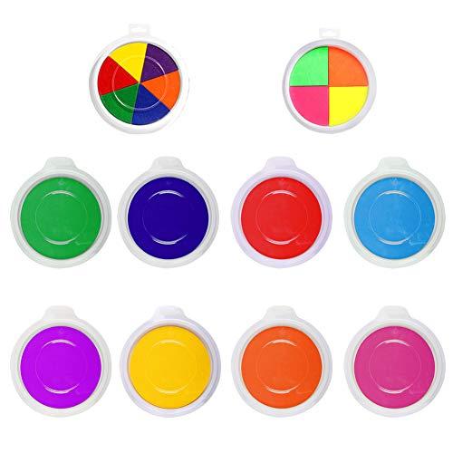 Almohadillas de tinta lavables, paquete de 10 almohadillas de tinta de colores