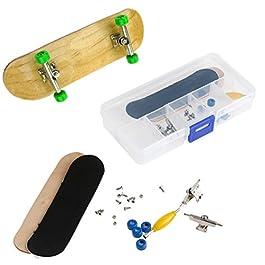 AumoToo Mini Dito Skateboard, Tastiera in legno di acero fai da te Giochi professionali di skateboard per skateboard professionali Regalo di Natale per bambini