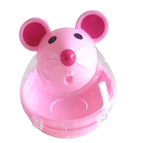 Isuper Haustier IQ Treat Interaktiver Futterball Slow Spender Feeder Katze Mahlzeit Glas Katze Snack Spender Design Rata(Rosa)