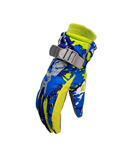 DULEE 11-12 Alter Unisex Kinder Winter Fleece Thermo Handschuh Ourdoor winddicht und wasserdicht Ski Handschuhe Reithandschuhe Sport Fäustlinge, blau L
