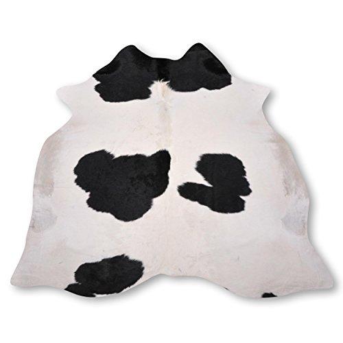 Premium Kuhfell-Teppich aus Südamerika - 100% Naturprodukt - weiß schwarz gefleckt L209 x B200cm
