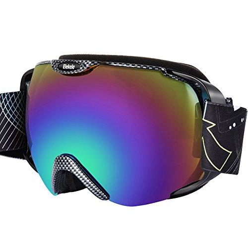 Elekele mascherina da sci winter snowboard sport invernali, lenti protezione anti riflesso raggi uv anti appannaggio occhialini protettivi a tre strati di gomma piuma (porpora)