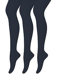 3 er Set Mädchen Strumpfhosen aus Baumwolle Uni Farben Ohne Muster