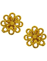 Anuradha Art Golden Finish Flower Styled Wonderful Traditional Maharashtrian Ear Studs Earrings For Women/Girls