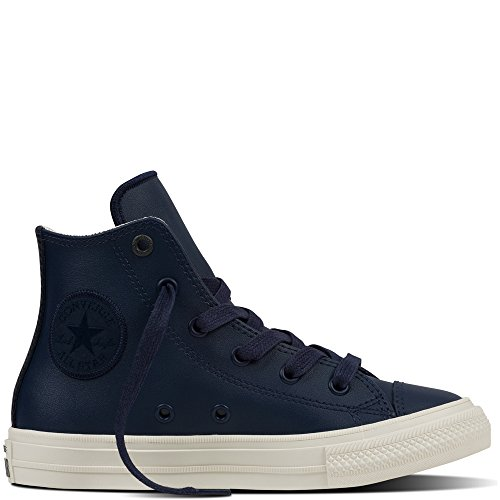Converse Chuck Taylor All Star II Junior Black Leather Trainers Blu
