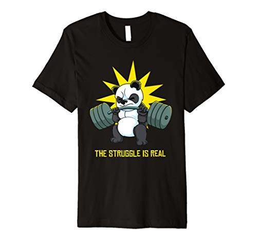 Der Kampf ist ein echtes Panda Bären Fitnessstudio T-shirt