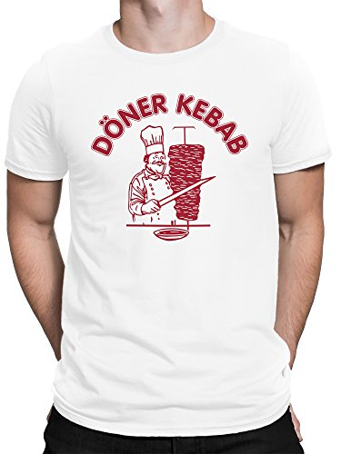 vanVerden Herren Fun T-Shirt Döner Kebab Kebap Grill Kostüm Dönergrill Plus Geschenkkarte, Größe:XX-Large, Farbe:Weiß
