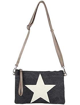 Stern Tasche Canvas Schultertasche Damentasche Schmucktasche Clutch Stofftasche Leder Stern