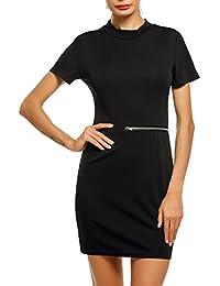 9f7f0763004 ACEVOG Damen Minikleid mit Reißverschluss Kurzarm Sommerkleid figurbetontes  Kleid Casual Partykleid Etuikleid