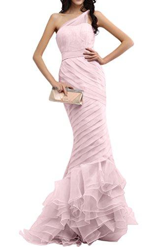 Gorgeous Bride Romantisch Ein-Traeger Meerjungfrau Organza Tuell Satin Lang Abendkleider Ballkleider Prom Kleider Rosa