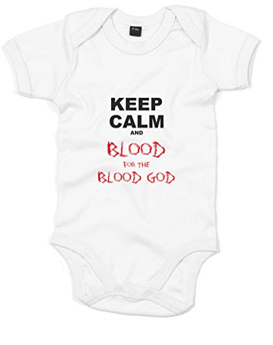Keep Calm and Blood For The Blood God, Gedruckt Baby Strampler - Weiß/Schwarz/Transfer 6-12 Monate 6.5 Chaos