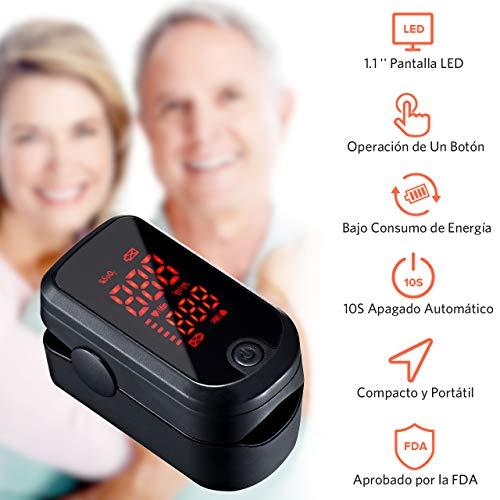 Mpow Oxímetro de Pulso Digital,  Oxímetro de Pulso con Pantalla LED de 1.1   ,  Pulsioxímetro de Dedo Sensor de oxígeno de Lectura instantánea y Monitor de frecuencia de Pulso Aprobado por FDA&CE