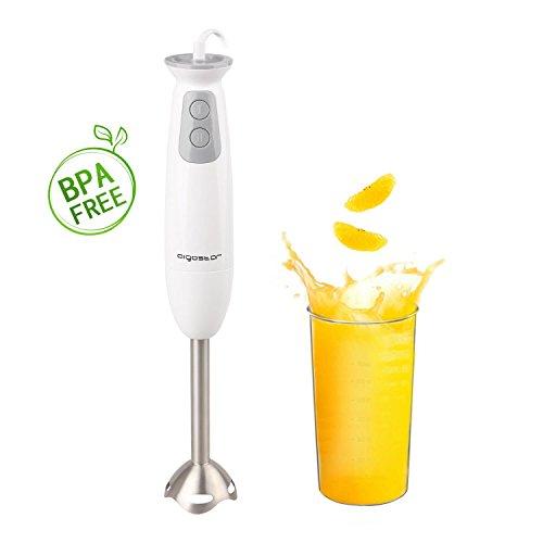 Aigostar Stirring White 30ISF - Stabmixer mit 700ml Becher, 2-fach, hochwertiger Kunststoff und 304 Food Grade Edelstahl, 400W, BPA frei, weiß, Eclusive Design.
