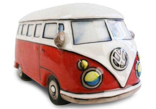 Life Arts Campingbus Sparschwein handgefertigt Keramik Rot Large (6cm x 16cm x 8cm)
