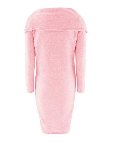 Femme Pull Tricot Epaule Nue Manches Longues Sweater pink