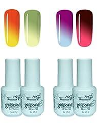 Beaunail à changement de couleur Ensemble de vernis à ongles gel, UV LED Soak Off Vernis à ongles caméléon Température...
