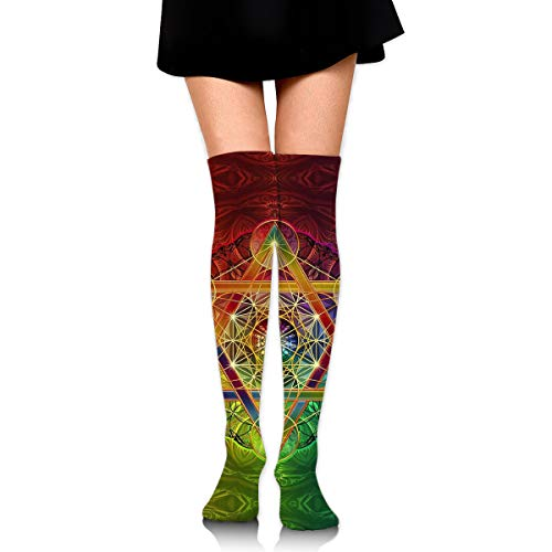 Knee High Leg Warmer Funny Metatron's Cube With Merkabah And Flower Of Life Compression Sock High Tube Thigh Boot Stocking for Women Teens Girls