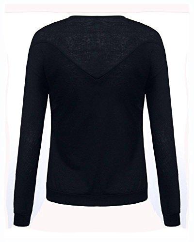 Minetom Femme Automne Sexy Manches Longues Col V avec Zip Hauts Sweatshirt Pullover Tops Shirt Blouse Chemise Noir
