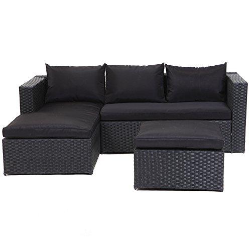 Grand Patio Outdoor Rattan Weiden Sofa Set Garten Patio Möbel gepolsterte Schnitt Konversation Sets-einfach montiert (schwarz, 3 Stück) (Konversation Sofa)