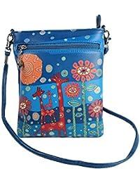 Stylish Multi Color Printed PU Leather Sling Bag For Girls / Women / Ladies 3 Zipper Pocket Cross Body Bag By... - B073RKCBJM