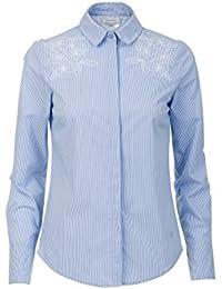 98bc23d73c1860 Promiss Damen Bluse Streifen Traffi Cut Hemdbluse Blau Und Weiß Gestreift  Mit Blumenstickerei Tailliert…