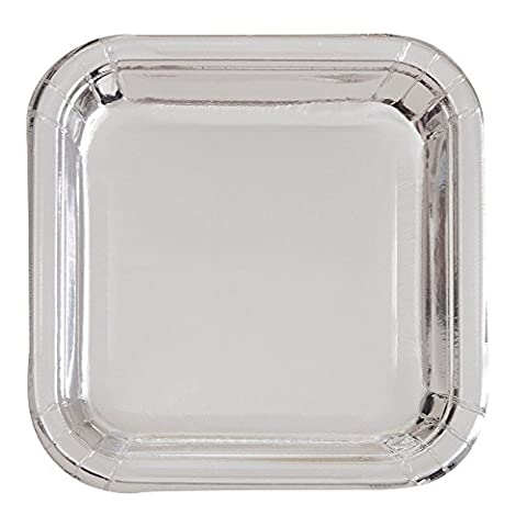 23cm Foil Silver Square Paper Party Plates, Pack of